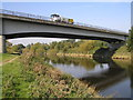 SJ5214 : River Severn,  Shrewsbury A49 bypass road bridge, upstream bridge of two bridges on bypass by kevin skidmore