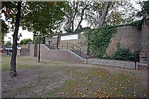 TQ3580 : Steps to St Paul's Church, The Highway, London E1 by John Salmon