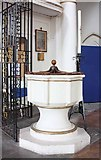 TQ3580 : St Mary, Cable Street, London E1 - Font by John Salmon