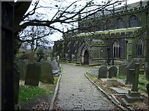 SD9828 : The Parish Church of Heptonstall, St Thomas a Becket & St Thomas the Apostle, Footpath by Alexander P Kapp
