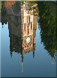 SO8276 : St Mary's Church Tower reflected, Kidderminster by Roger  Kidd