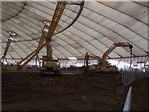 TQ3980 : Construction work with Millennium Dome by David Anstiss