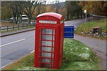 NO2694 : Telephone Box near Crathie Kirk by Alan Morrison