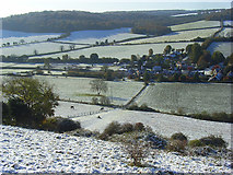 SU7691 : Snowy countryside, Turville by Andrew Smith