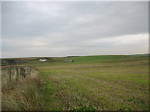 SH3368 : View across cropland towards Ty'n Twll and Ty Cwyfan cottages by Eric Jones