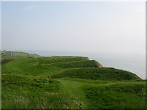 SS9168 : Hill fort above Nash Point by M Hunter