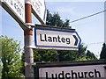 SN1812 : Fingerpost Sign to Llanteg, at Tavernspite by welshbabe