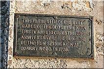 NJ2265 : Commemorative Plaque in Spynie Kirkyard by Anne Burgess