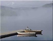 SK2086 : The fog begins to lift over Ladybower reservoir by Steve  Fareham
