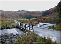 SN8355 : Irish bridge and Afon Irfon by Llannerch-yrfa, Powys by Roger  Kidd