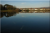 ST1587 : Houses reflected in North Lake, Caerphilly by Philip Halling