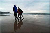 SH1726 : Beach walking on Christmas Day by Dave Croker