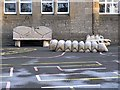 NY8355 : Wooden playground objects, Allendale School by Oliver Dixon
