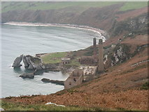 SH4094 : The Porth Wen Brick Factory and Porth Castell from the summit of Torllwyn by Eric Jones