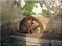 SH4094 : Parts of a steam engine at Porth Wen Brick Works by Eric Jones