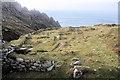SW4136 : Tin mill remains at Porthmoina Cove by Bob Jones