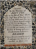 TG1807 : St Andrews church in Colney - memorial on porch by Evelyn Simak
