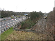 NS5564 : Railway and Motorway (M8) by G Laird