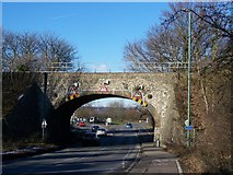 TQ7357 : Railbridge over London Road, A20 by David Anstiss