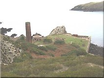 SH4094 : The Porth Wen bee-hives from the cliff top by Eric Jones