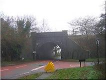 SP0074 : Bridge on B4120 under the Birmingham to Bristol railway line. by Roy Hughes