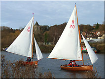 TG2608 : Sailing boats on the New Cut, River Yare by Martin Thirkettle