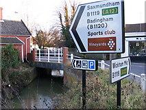 TM2863 : Left to Saxmundham & Badingham, straight on for Wickham Market by Adrian Cable