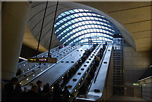 TQ3780 : The escalators leaving / entering Canary Wharf Underground Station by N Chadwick