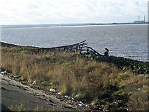 TQ7178 : Fallen Beacon near Sea Wall by David Anstiss