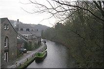 SD9827 : Rochdale Canal from Bridge 18 - Shelf Road by Betty Longbottom