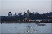 TQ7568 : Chatham church across the River Medway by N Chadwick
