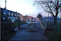 TQ7668 : Concrete block at the end of Sally Port Gardens, Gillingham by N Chadwick