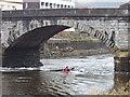 SX8060 : Kayak in tidal flow under Totnes Bridge by David Hawgood