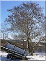 NU0503 : Ruined trailer, Primrose Wood by Andrew Curtis