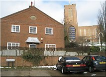 SU9849 : Street sign for Ridgemount below Guildford Cathedral by Basher Eyre