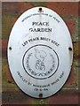 NS5064 : Barshaw Park: a plaque in the Peace Garden by Lairich Rig
