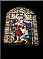 SU3521 : Poignant stained glass window on the south wall at Romsey Abbey by Basher Eyre