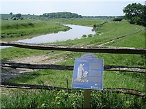 TQ1913 : River Adur - and plaque giving historical information about Stretham Manor by Ian Cunliffe