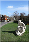 TQ1711 : Statue of St Cuthman by Simon Carey