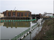 TF3242 : Black Sluice pumping station and floating pontoon by Michael Trolove