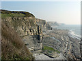 SS8972 : Cliffs and view toward Traeth Bach, Dunraven. by Mick Lobb