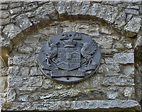 SS8872 : Heraldic arms on the tower, Dunraven Park  walled garden by Mick Lobb
