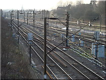 TQ5686 : railway tracks to the west of Upminster station by Oxyman