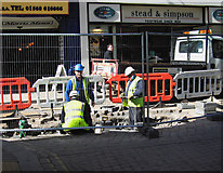 SO4959 : Road works on High Street by Dave Croker