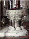 TQ4655 : St Martin's Church, Brasted, Kent - Font by John Salmon