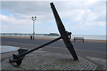 TR3752 : The anchor at the Time Ball Museum with Deal pier by Judith Bennett