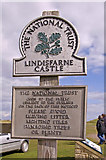NU1341 : National Trust Sign, Lindisfarne Castle, Holy Island by Christine Matthews