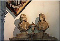 TL3706 : St Augustine of Canterbury, Broxbourne, Herts - Detail from wall monument by John Salmon