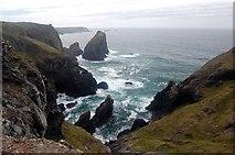 SW6813 : Gull Rock from Kynance Cliff by Trevor Harris