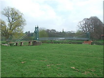 SK1133 : Footpath suspension bridge over the River Dove by Peter Taylor